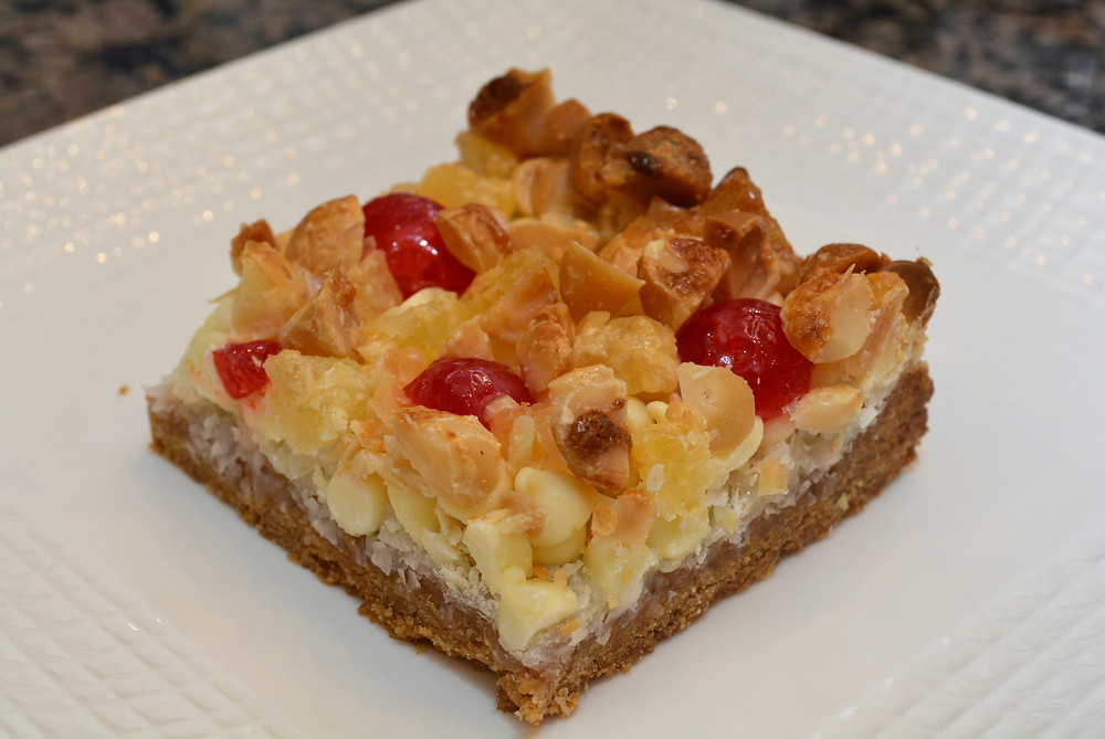 Pina Colada Macadamia Cookie Bars with Graham Cracker Cookie Base