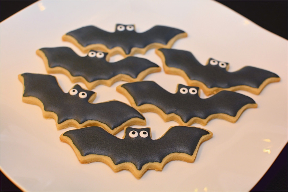 Almond Cut-out Cookies with Almond Royal Icing decorated as bats