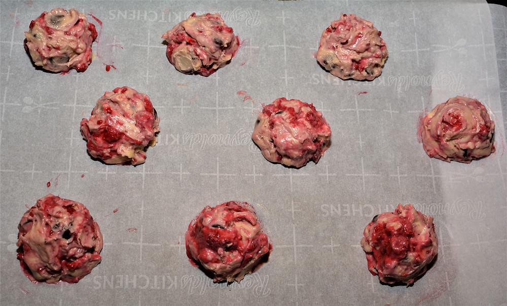 Raspberry Cheesecake Chocolate Chunk Cookie Batter