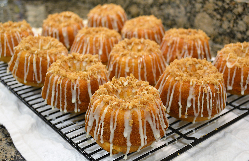 White Chocolate Spiced Eggnog Bundt Cakes with White Chocolate Eggnog Ganache