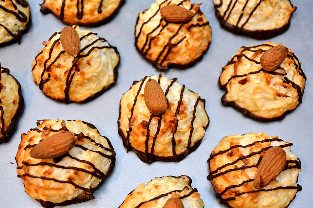 Chocolate Dipped Coconut Macaroons with Almonds