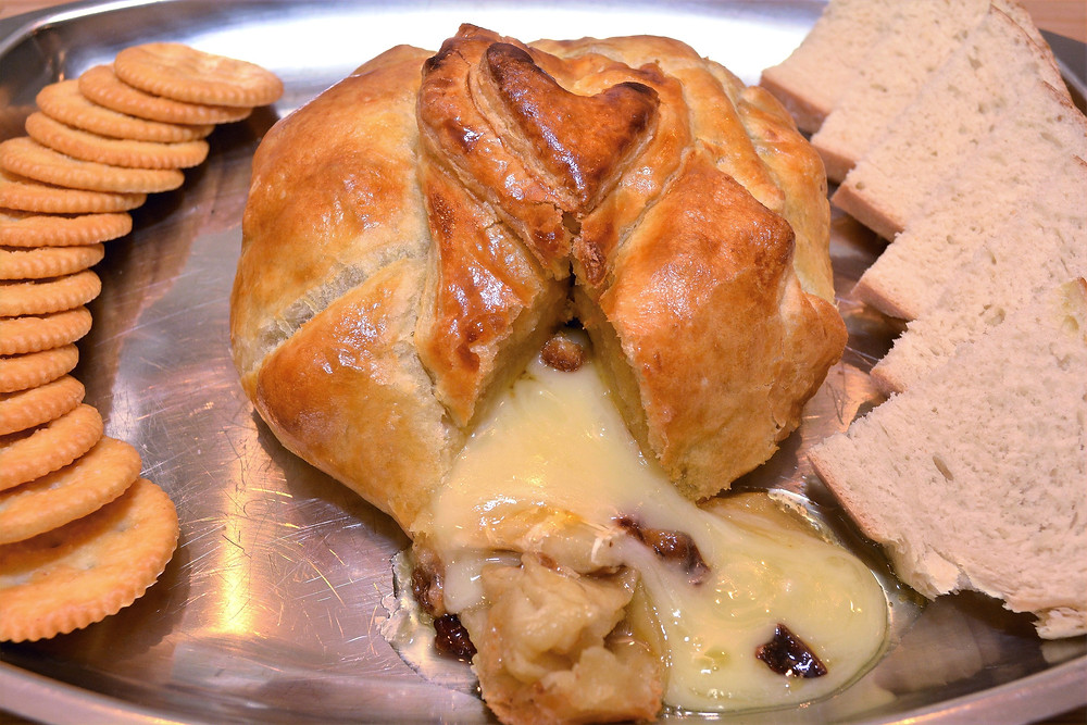 Gooey Apricot, Cherry, and Candied Walnut Baked Brie Appetizer