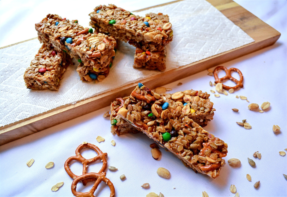Peanut Butter Pretzel Granola Bars with Rice Cereal