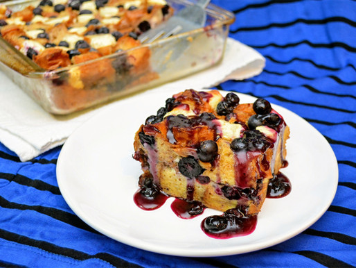 Overnight Blueberries and Cream French Toast Casserole with Blueberry Sauce
