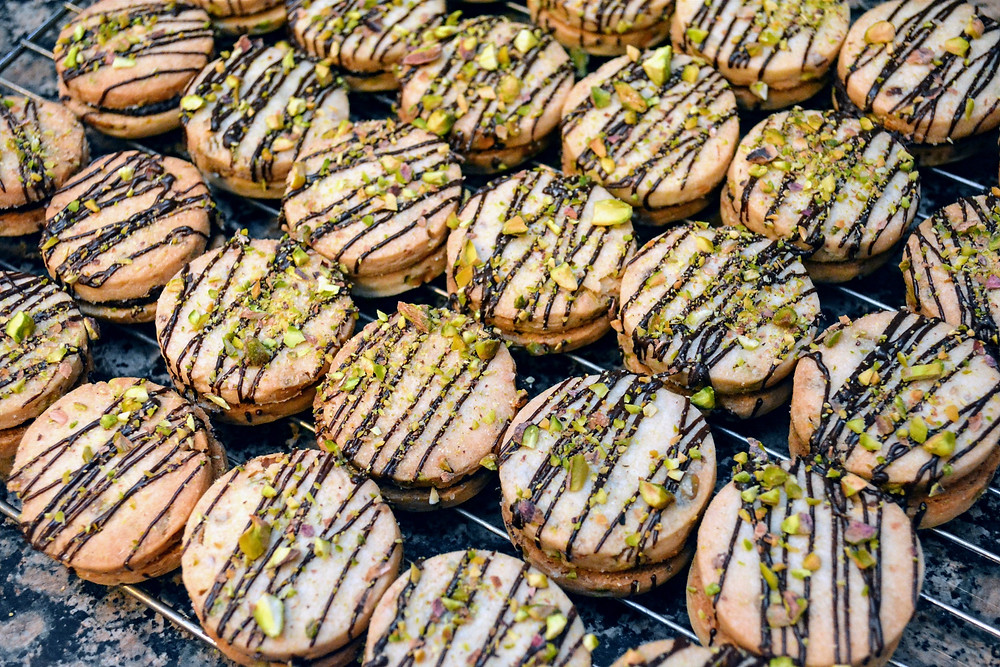 Dark Chocolate Pistachio Shortbread Cookies with Dark Chocolate Drizzle