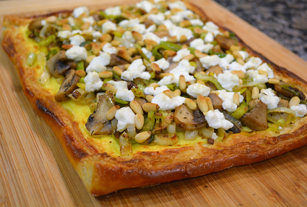 Mushroom, Leek, and Goat Cheese Tart with Puff Pastry