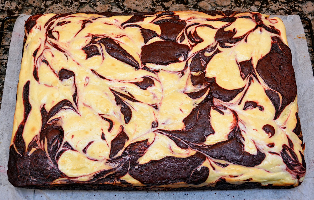 Fresh Baked Dark Chocolate Red Velvet Cheesecake Swirl Brownies