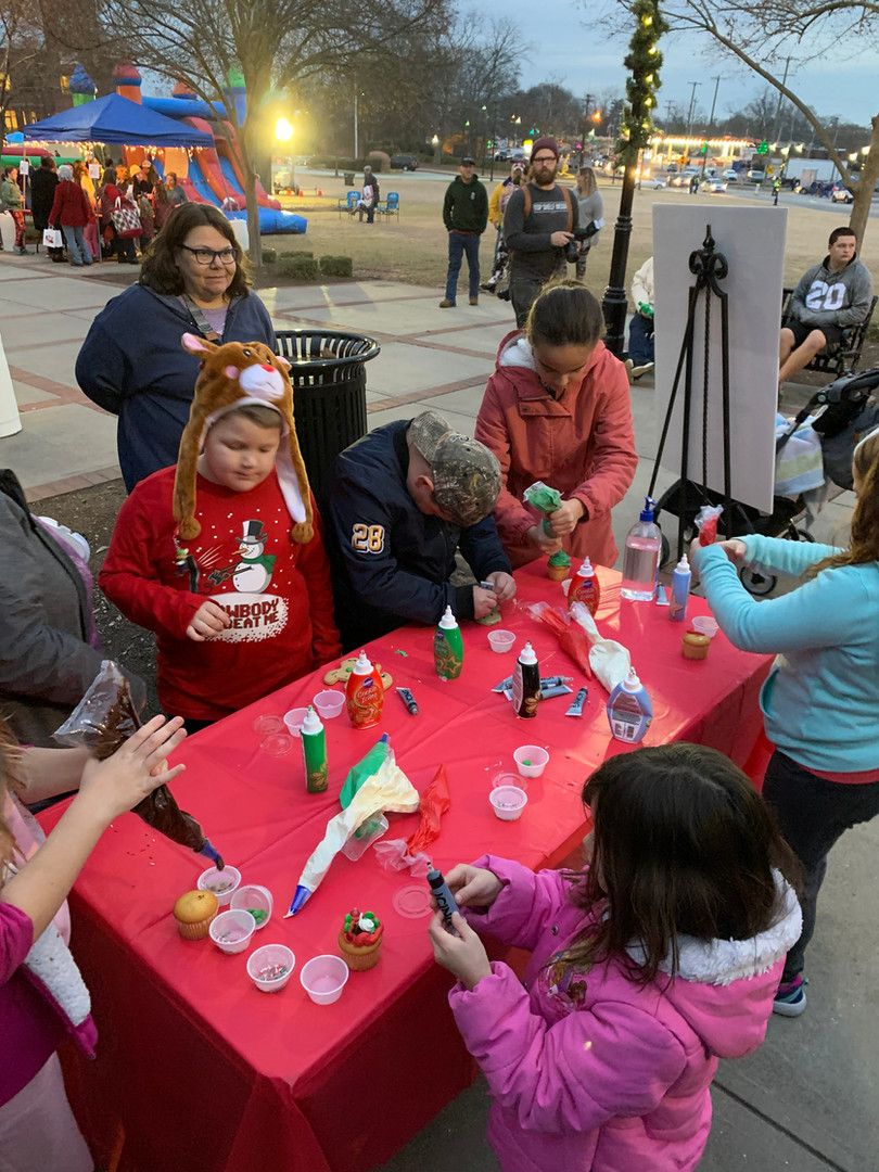 Tree Lighting Ceremony in Downtown Greer. Decorate your own gingerbread station!