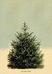 Vintage Juletræ incl. ophæng og grøn tusch