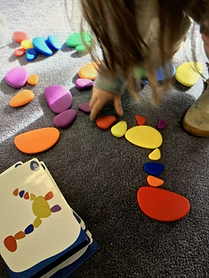 Recreate a shape and learn the names of shapes-beginning math skills.