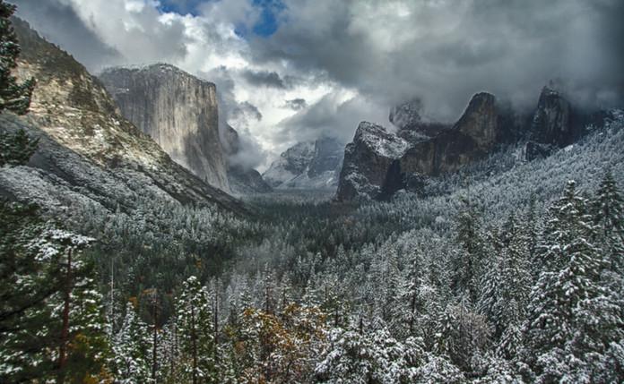 Yosemite Fall in Snow