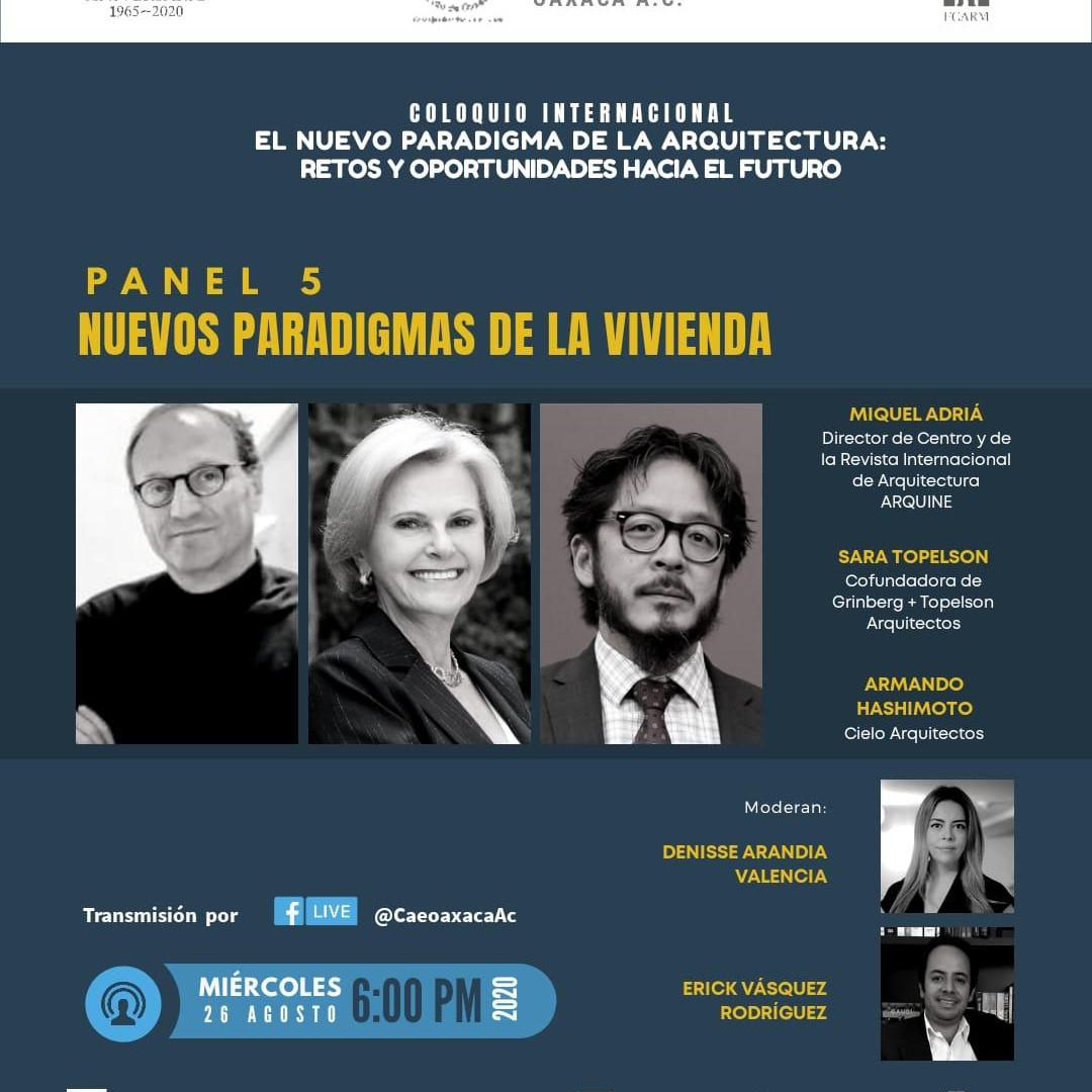 ¡Acompáñenos este miércoles a las 6 pm! ¡Muchas gracias al Colegio de Arquitectos de Oaxaca por la invitación!
