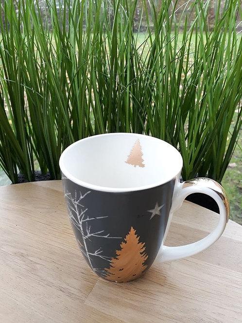 Theetas kerstboom grijs goud