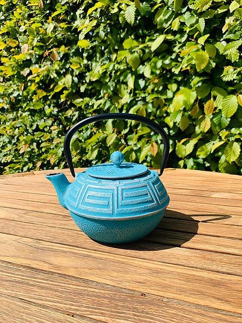 Gietijzeren theepot turquoise