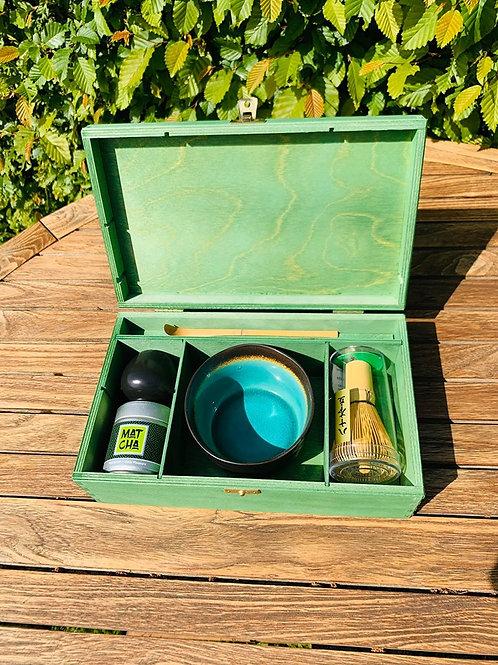 Matcha set in houten kist
