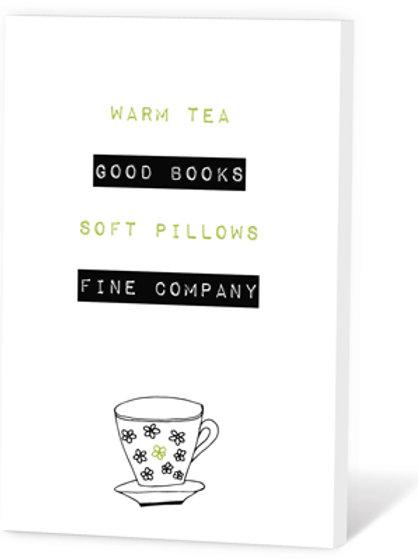 Wenskaart Warm tea Good books