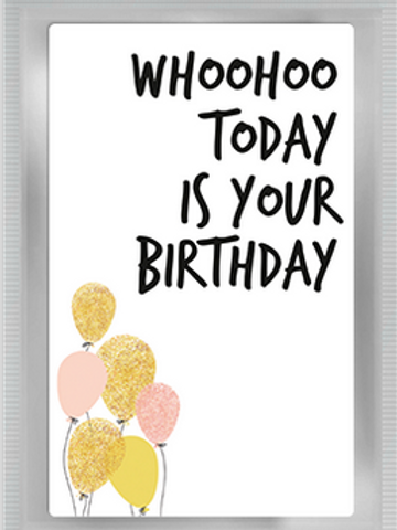 Wenskaart met thee Happy Birthday