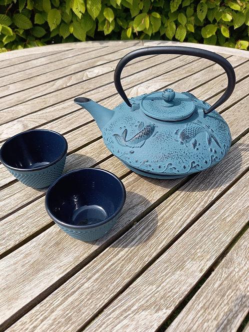 Gietijzeren theeset blauw VIS