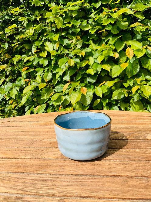Matcha kom of chawan licht blauw/bruin