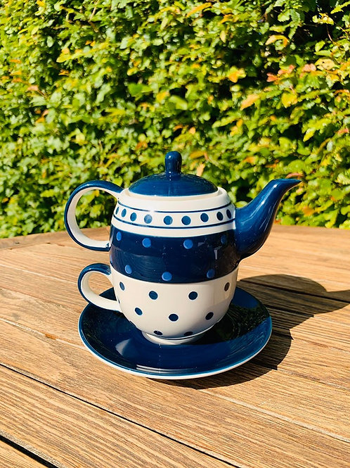 Tea-for-one Blauwe stip retro