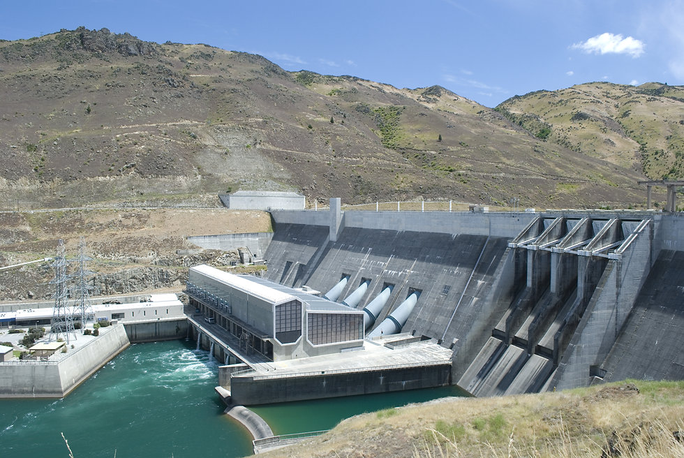 Clyde dam power station in Clutha River,