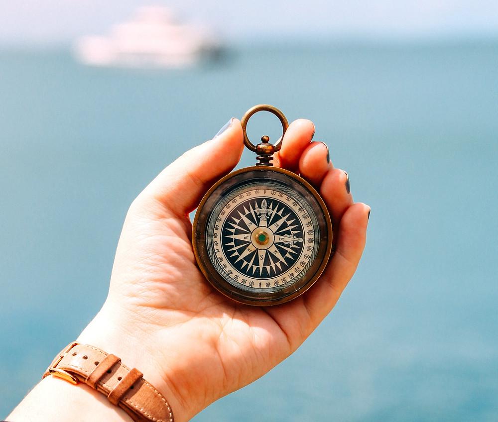 Values-compass-ocean