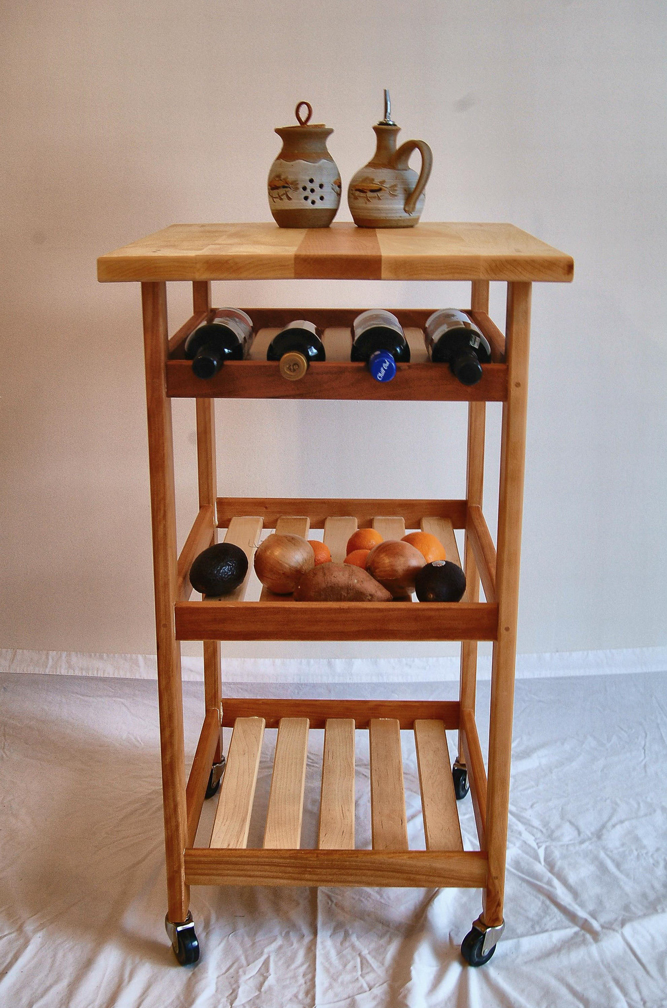 Hard Maple and Cherry Kitchen Cart with Wine Rack