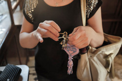 A visitor at Vefa Church has kept the keys on which she made previous wishes at the church