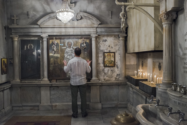 A man prays at a church in Gulhane