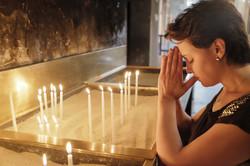 A Muslim woman prays at Vefa Church