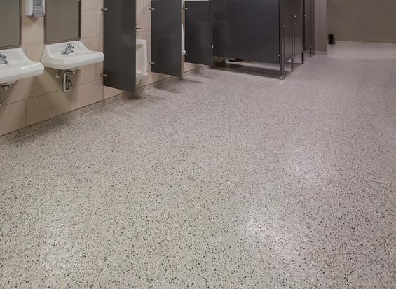 Coated Concrete Floor in Large Restroom