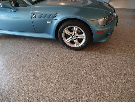 BMW Car on Decorative Concrete Flakes