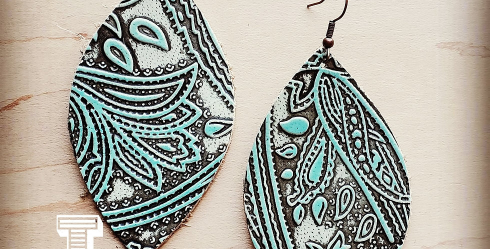 Leather Oval Embossed Turquoise Paisley Earrings