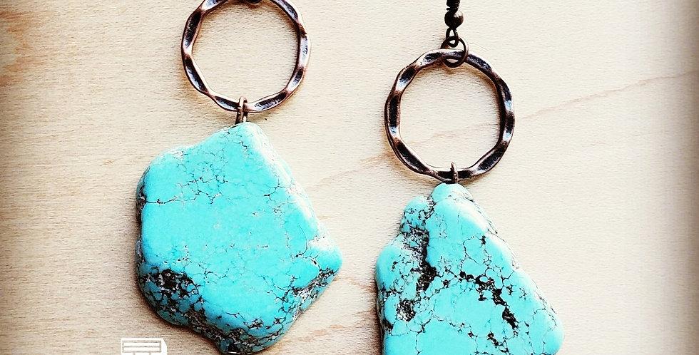 Blue Turquoise Chunky Earrings