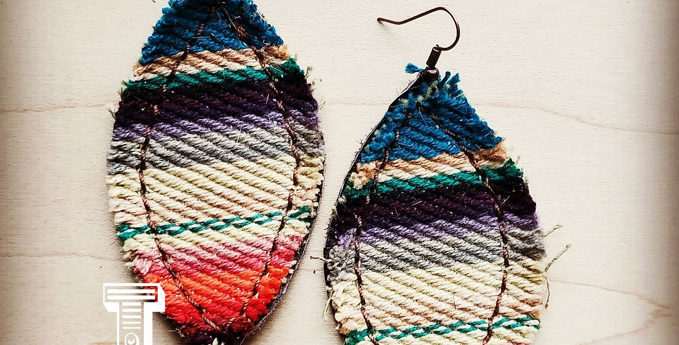 Frayed Multi Colored Serape Earrings