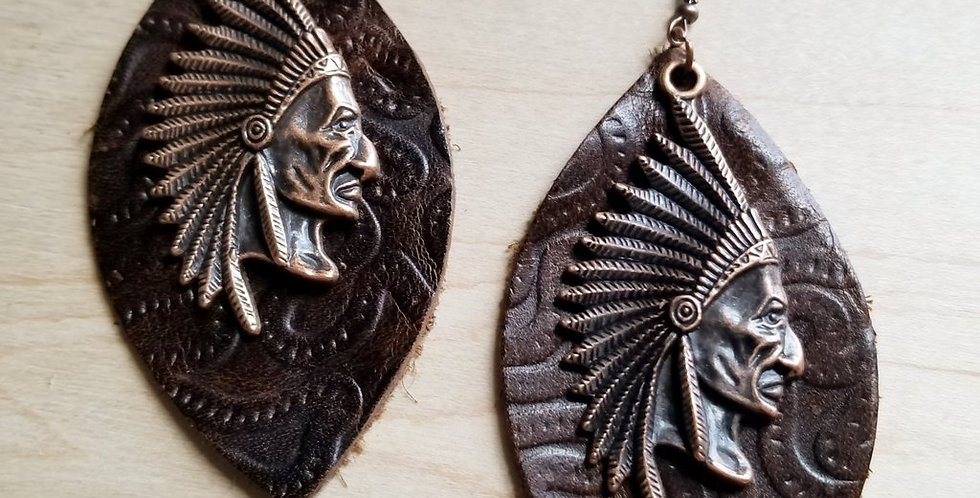 Indian Head and Brown Leather Oval Earrings