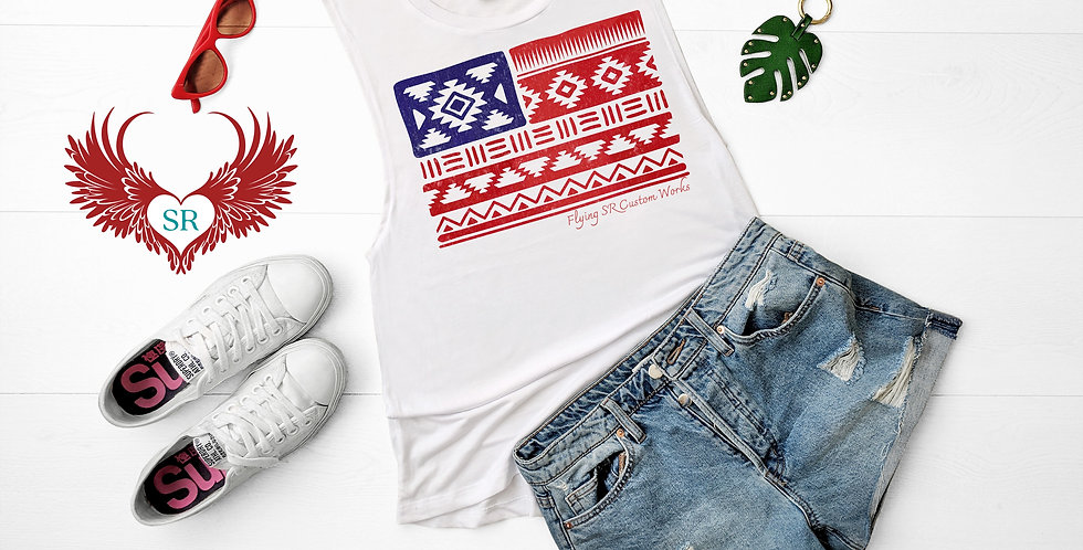 Aztec American Flag Tee
