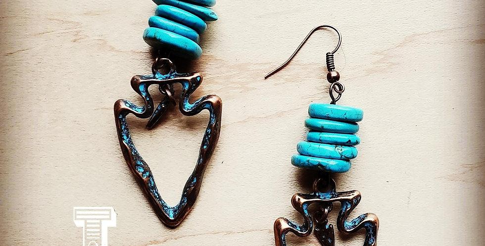 Turquoise Chip Dangle Earrings