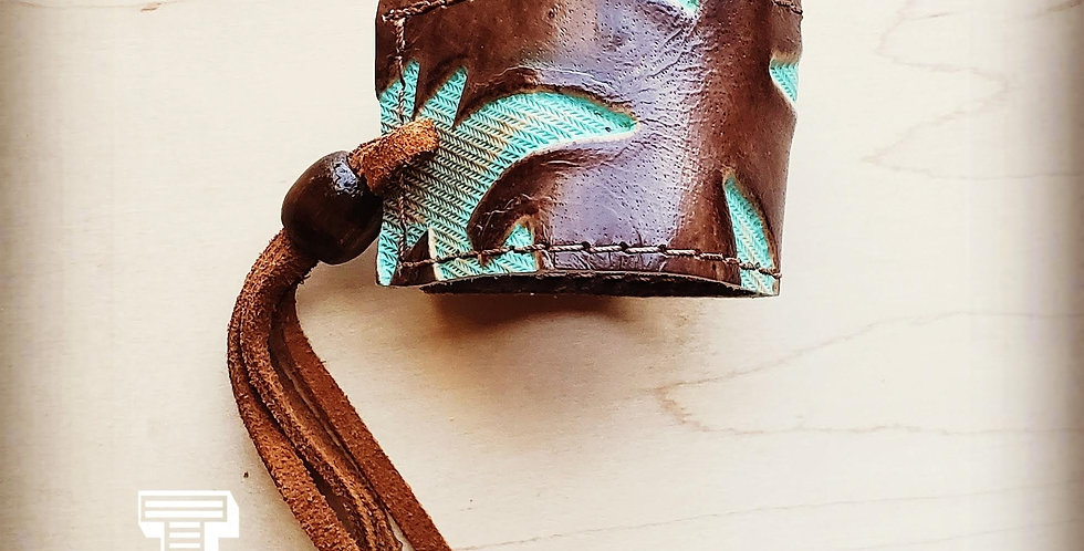 Leather Turquoise Laredo Cuff with Adjustable Tie