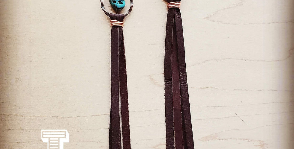 Turquoise Drop Earrings with Brown Leather Tassel