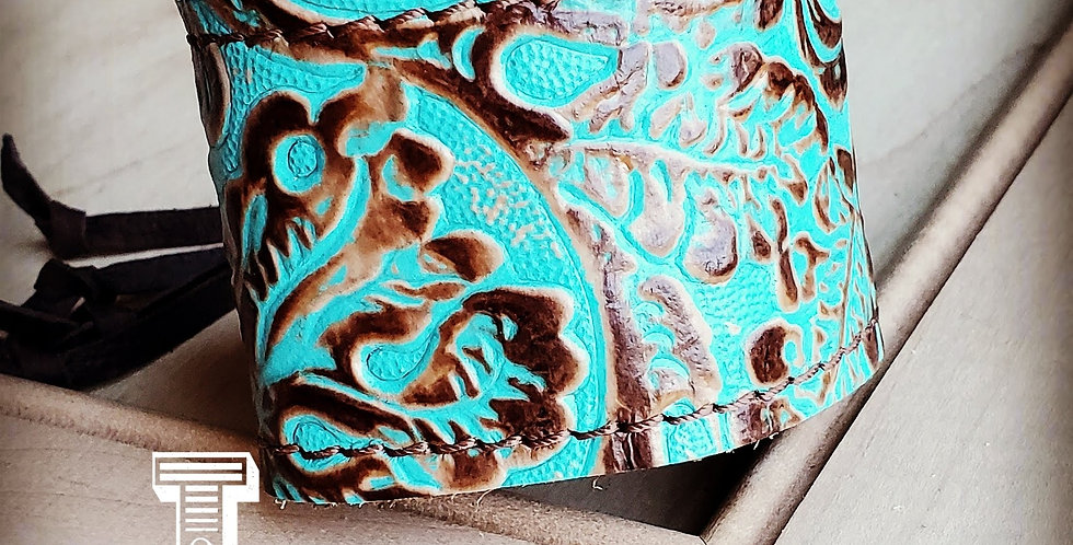Leather Cuff With Adjustable Tie in Cowboy Turquoise