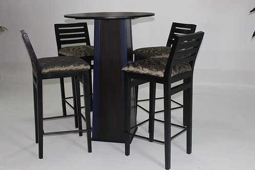 BLACK BAR SINGLE SET COCKTAIL STAND WITH BAR STOOLS 1009