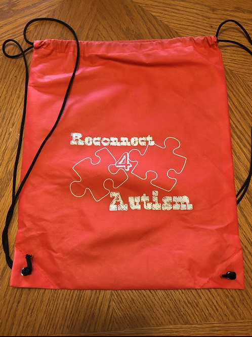 Reconnect 4 Autism Red Drawstring Bag