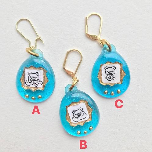 Virtual Pet Earring in Blue