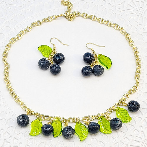 Blueberry Choker and Earring Set (Made to Order)