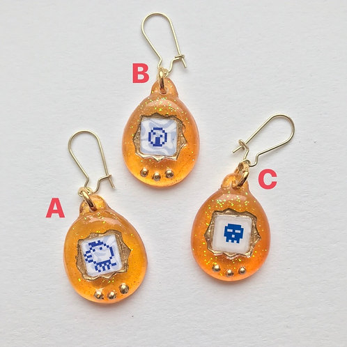 Virtual Pet Earring in Orange
