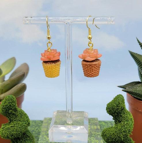 Rose Succulent Earring Pair