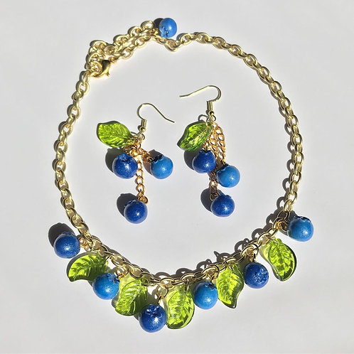Blueberry Choker and Earring Set