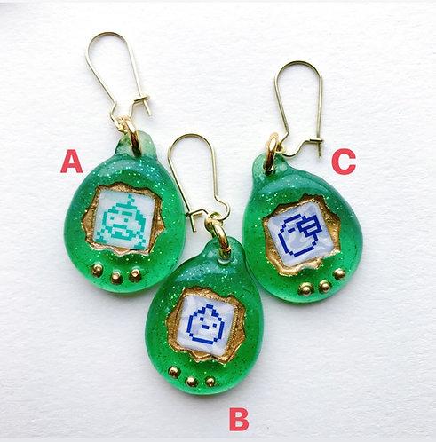 Virtual Pet Earring in Emerald Green