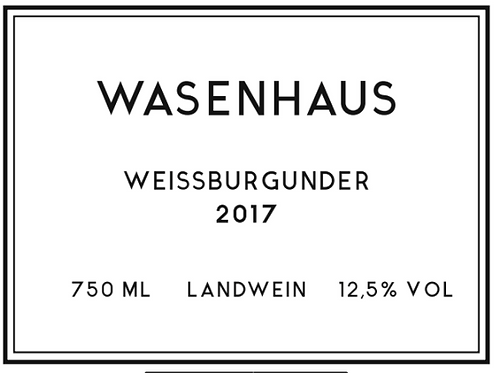 Wasenhaus - Weisburgunder 2017